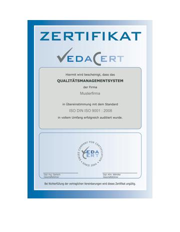 VedaCert Zertifikat QM-System